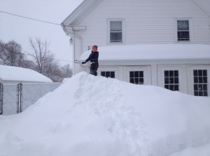 No bulldozer was used to help make this mountain of snow over at Nana's. Nana made this mound of snow over at Nana's.
